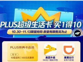 京东plus超级生活卡,102元买1得10,118元买plus+任意视频会员年卡